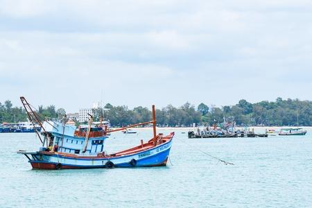 Rayong, Thailand - April, 28, 2017 : Fishing boat floating in the sea at the Koh Samet island, Rayong, Thailand