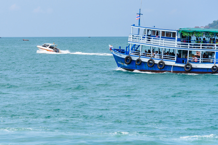 Rayong, Thailand - April, 28, 2017 : Unidentified name Tourists are traveling with boat to go to the Same island, Rayong, Thailand
