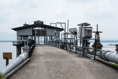 Chon Buri, Thailand - April, 27, 2017 : Water treatment process and Water treatment plants of the Waterworks at Bang Phra Reservoir in Chon Buri, Thailand.
