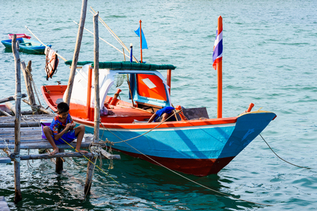Chon Buri, Thailand - April, 27, 2017 : Fishing boat floating in the sea at Sattahip, Chon Buri, Thailand. Editorial