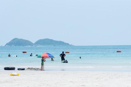 Chon Buri, Thailand - April, 27, 2017 : View of Namsai beach in Sattahip, Chon Buri, Thailand