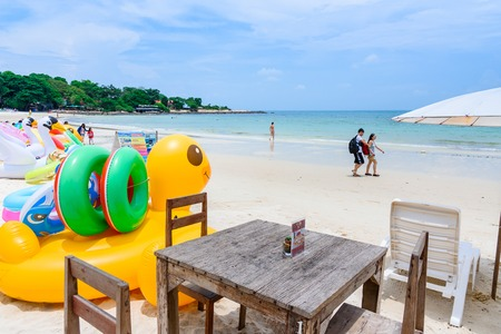 Rayong, Thailand - April, 28, 2017 : Animal figure swim tube on the beach Inflatable animal.Fantasy Swim Ring for Summer sea Trip on the beach at the Koh Samet island, Rayong, Thailand