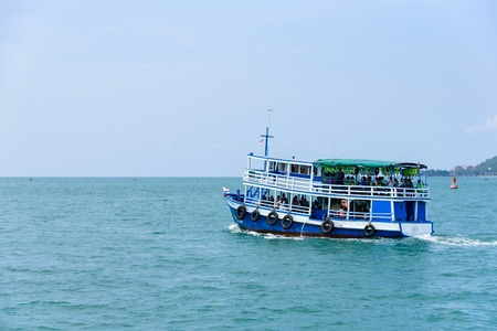downstream: Rayong, Thailand - April, 28, 2017 : Unidentified name Tourists are traveling with boat to go to the Same island, Rayong, Thailand