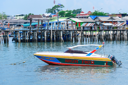 Rayong, Thailand - April, 28, 2017 : Speed boat floating in the sea at the Koh Samet island, Rayong, Thailand