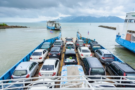 Trat, Thailand - May, 20, 2017 : Cars parked on a ferry.Tourists passenger ferry boat going to Koh Chang island from Ao Thammachart Pier quay on Trat Thailand.