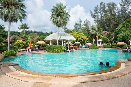 trat: Trat, Thailand - May, 21, 2017 : Swimming pool at Klong Prao Resort in Prao Beach Koh Chang island Trat, Thailand. Editorial