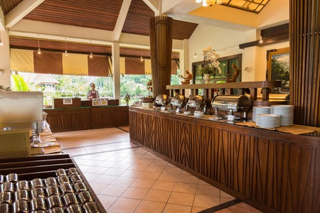 trat: Trat, Thailand - May, 21, 2017 : Buffet restaurant for breakfast at Klong Prao Resort in Prao Beach Koh Chang island Trat, Thailand. Editorial
