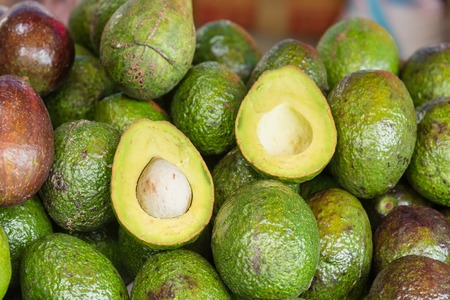 pip: Fresh avocado fruit in food market at Bangkok, Thailand Stock Photo
