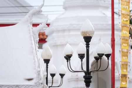 Classic Lamp Post in the Thai Temple at Koh Kret, Nonthaburi, Thailand Stock Photo