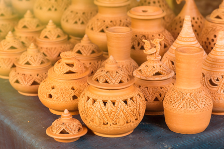 Nonthaburi, Thailand - June, 11, 2017 : Traditional pottery earthenware, ceramic pot at Koh Kret, Nonthaburi, Thailand Redakční