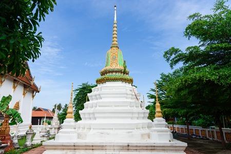Nonthaburi, Thailand - June, 11, 2017 : White pagoda against blue sky at Wat Poramai Yikawat at Koh Kred in Nonthaburi, Thailand Editorial
