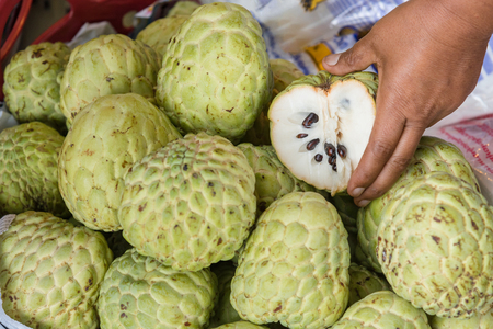 Custard apple fruit to sell the market thailand