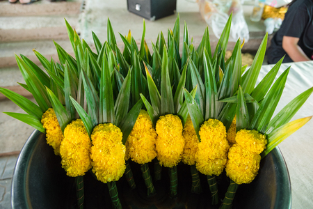 Bunch of marigold and Pandan for making merit in temple thailand