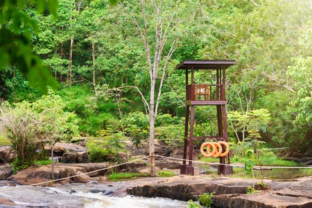 streamlet: Safety Watch Tower at Tat ton Waterfall in early rainy season in Chaiyaphum Thailand Stock Photo