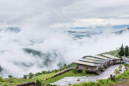 Phetchabun, Thailand - July, 15, 2017 : Landscape misty,Fantastic dreamy sunrise on the mountains, Mountain with mist cloud at Khao Kho Phetchabun Thailand. Editorial