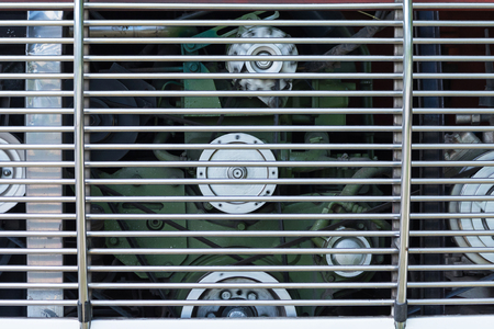 shiny car: Close up engine on the bus. A fragment of the diesel engine Stock Photo