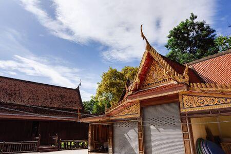 Ratchaburi, Thailand - July, 23, 2017 : Beautiful architecture of temple in Wat Khanon temple at Ratchaburi, Thailand