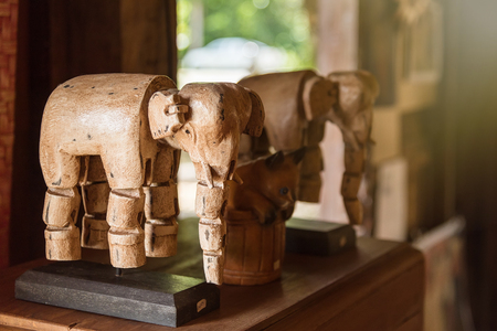 animal figurines: Wooden Elephants souvenirs at Nan Province, Thailand