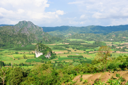 Mountains and beautiful view of landscape in Nan Province, Thailand