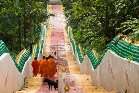 limosna: Nan, Thailand - September, 23, 2017 : Unidentified name buddhist monk was walking alms giving ceremony in the morning.Walking down the stairs of Wat Phra That Khao Noi in Nan Province, Thailand