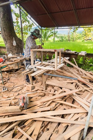Nan, Thailand - September, 24, 2017 : Unidentified name Carpenter is working in Rongngæ temple at Nan Province, Thailand