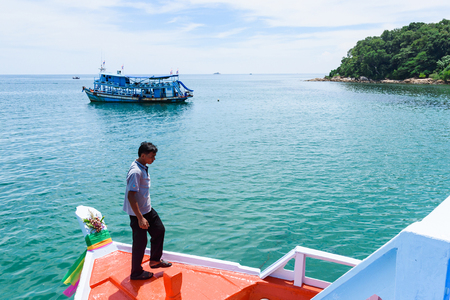 Rayong, Thailand - October, 08, 2017 : View of sea from the passenger boat to Koh Samet island, Rayong, Thailand