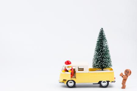 Nonthaburi, Thailand - November, 14, 2017 : Lego Santa Claus truck driver to send christmas trees at Christmas day.Theme Christmas day background.