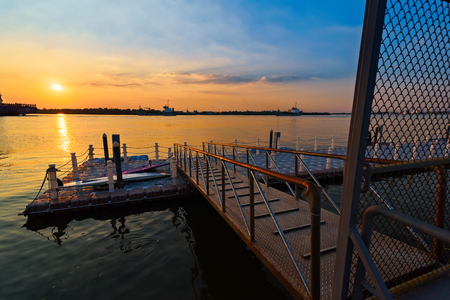 Sunset view of Ferry port in Chao Phraya River at Samut Prakan, Thailand Stock Photo
