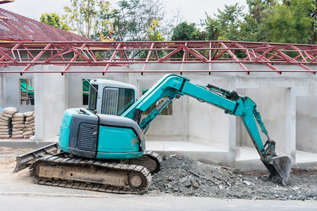 Green digger at the construction site.Thailand