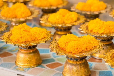 Marigold Flower Offerings In Thailand Stock Photo