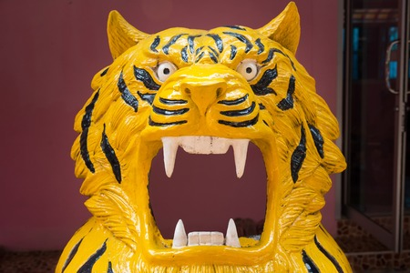 Tigers are made from fiberglass to allow tourists to photograph.Thailand Stock Photo