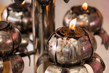Candle fire in the temple.Thailand