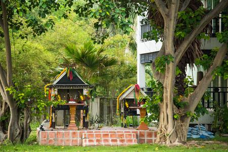 Prachuab Khirikhan, Thailand - March, 25, 2018 : Wooden spirit house of Pattawia Resort in Pranburi Prachuap Khiri Khan, Thailand