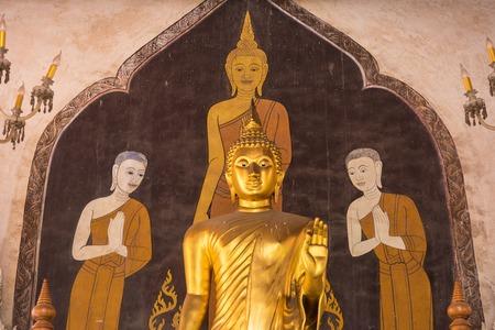 Phetchaburi, Thailand - March, 26, 2018 : Golden Buddha statue of Wat Phra Sri Mahathat Woramahawihan temple in Phetchaburi, Thailand