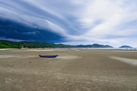 Storm is coming, Rain clouds before the storm in tropical sea landscape.Thailand