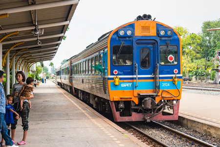 Lop Buri, Thailand - April, 29, 2018 : Unidentified name people were waiting for the rapid train to send them in their destination in Lop Buri railway station at Lop Buri, Thailand Redakční