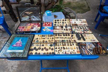 Bangkok, Thailand - May, 05, 2018 : Sales stalls amulets at Taling Chan Floating Markett at Bangkok, Thailand.