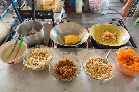 Thai People Cookiing Stuffed Crispy Egg-crepe or Vietnamese style Omlet
