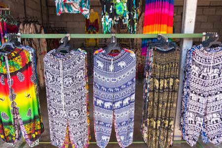 Kanchanaburii, Thailand - May, 13, 2018 : Pants with printed pattern hanging on the rack at Kanchanaburii, Thailand