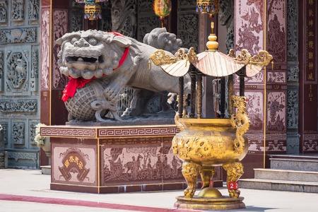 Samut Prakan, Thailand - May, 14, 2018 : Chinese god Shrine at Shrine Xian Dai Lo Tian Gong, a new tourist attraction Chinese temple landmark in Samut Prakan, Thailand