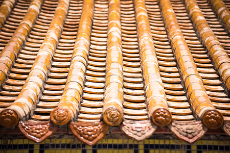 Roof at chinese god Shrine at Shrine Xian Dai Lo Tian Gong, a new tourist attraction Chinese temple landmark in Samut Prakan, Thailand