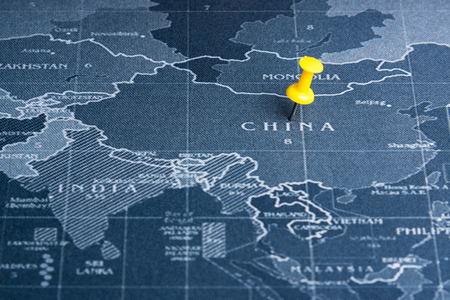 Yellow pin on the world map pin to China countries.Business world wide system concept Stock Photo