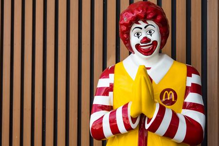 Bangkok,Thailand - June, 02, 2018 : Mascot of McDonald's restaurant, Ronald McDonald posed the Thai greeting referred