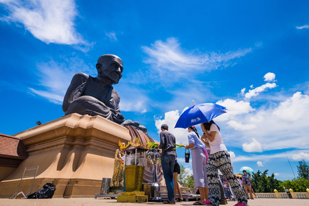 Prachuap Khiri Khan,Thailand - June, 02, 2018 : Unidentified name People go to temple to pray for good luck and success in life at Wat huay mongkhon, Landmark of huahin, prachuap khiri khan, thailand