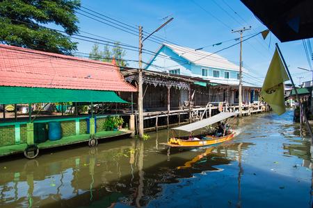 Ratchaburi,Thailand - June, 02, 2018 : View of Damnoen Saduak Floating Market is one of the most popular floating markets in Ratchaburi,Thailand