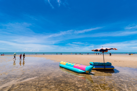 Prachuap Khiri Khan,Thailand - June, 02, 2018 : View of Hua Hin Beach Prachuab Khirikhan in day time.Thailand