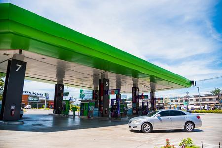 Prachuap Khiri Khan,Thailand - June, 02, 2018 : Unidentified name People drive cars to refuel oil fuel in Bangchak Oil station at Hua Hin city Prachuab Khirikhan, Thailand Editorial