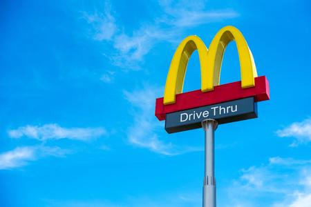 Prachuap Khiri Khan,Thailand - June, 02, 2018 : McDonald's fast food restaurant with drive through and 24 hours service