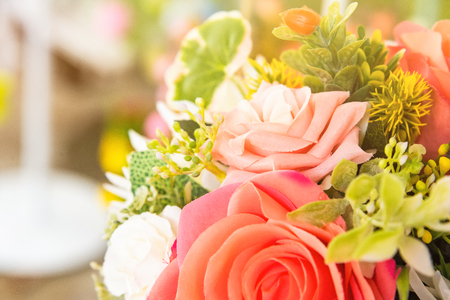 Bright and beautiful colors of plastic flowers