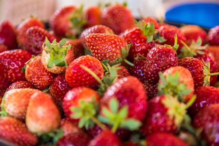 Fresh ripe strawberries in bucket .Thailand